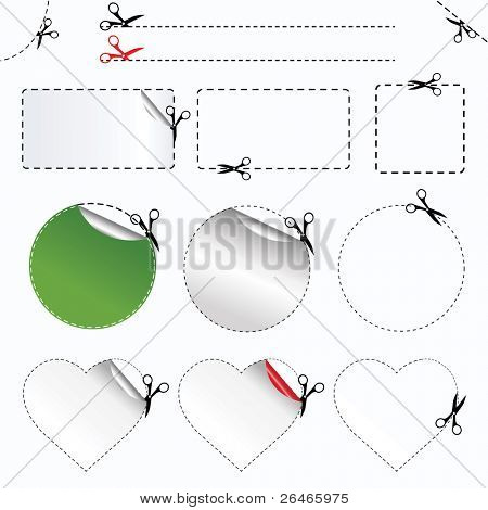 Blanks Advertising Coupon Cut From Sheet Of Paper,  Isolated On White Background, Vector Illustration poster