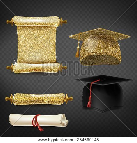 Vector Set With Black And Golden Graduation Caps, Glittering Diplomas Isolated On Background. Square
