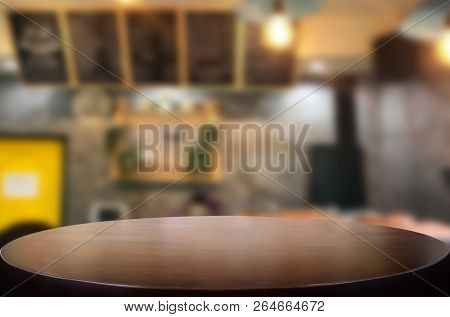 Selected Focus Empty Brown Wooden Table And Coffee Shop Or Restaurent Blur Background With Bokeh Ima
