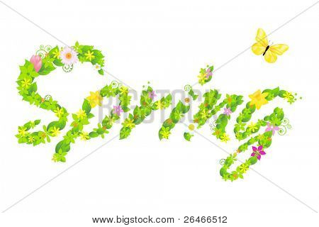 Inscription Spring From With Flower And Butterflies