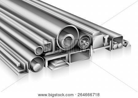 Structural steel profile realistic composition metal pipe, tube, bar, rod, rebar, channel, beam, stainless steel or aluminium for construction, cold or hot rolled iron metalworking products poster