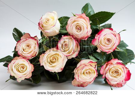 Bouquet Of Roses On Blue Background.