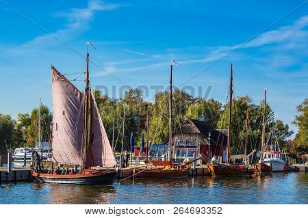Port With Sailing Ships In Dierhagen, Germany.