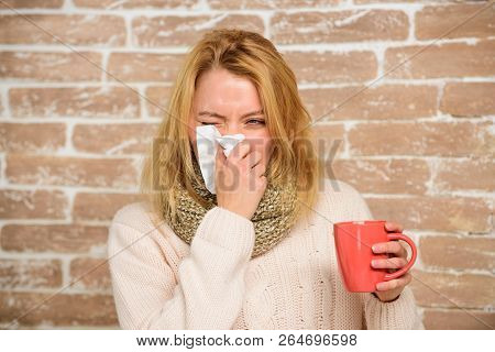 Remedies Should Help Beat Cold Fast. Tips How To Get Rid Of Cold. Woman Feels Badly Ill Sneezing. Gi