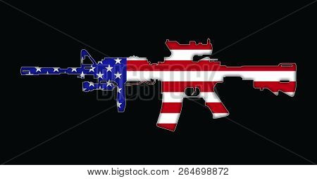 Rifle With American Flag Painted On, Isolated On Black Background 3d Illustration