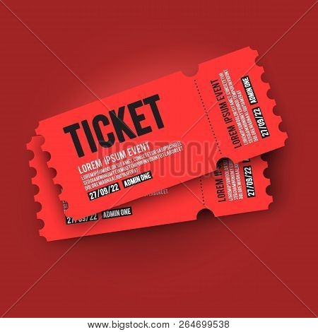 Vector Illustration Red Vip Entry Pass Ticket Stub Design Template For Party, Festival, Concert