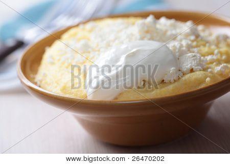Banosh, Carpathian cornmeal porridge with cheese and sour cream poster