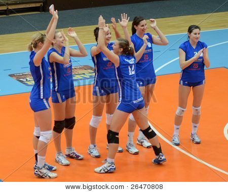 KAPOSVAR, HUNGARY - OCTOBER 23: Bekescsaba players before a Hungarian NB I. League woman volleyball game Kaposvar vs Bekescsaba, October 23, 2011 in Kaposvar, Hungary.