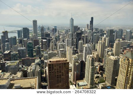 Downtown Chicago, Illinoise Seen In Aerial View Towards Southerns Horizon