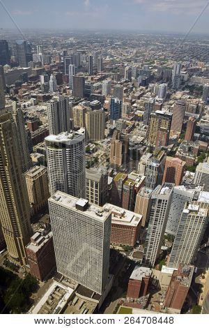 Downtown Chicago Skyscrapers In Aerial View Of Towards Horizon