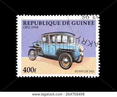 Guinea - Circa 1998: Cancelled Postage Stamp Printed By Guinea, That Shows Rumpler Vehicle From 1921