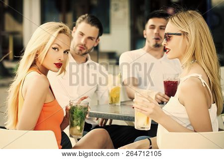 Celebration, Party, Proposal, Birthday. Man Vapor Hookah Pipe In Shisha Bar Lounge. Women Twins And