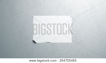 Blank White Wheatpaste Adhesive Horizontal Poster Mockup On Textured Wall, 3d Rendering. Empty Glue