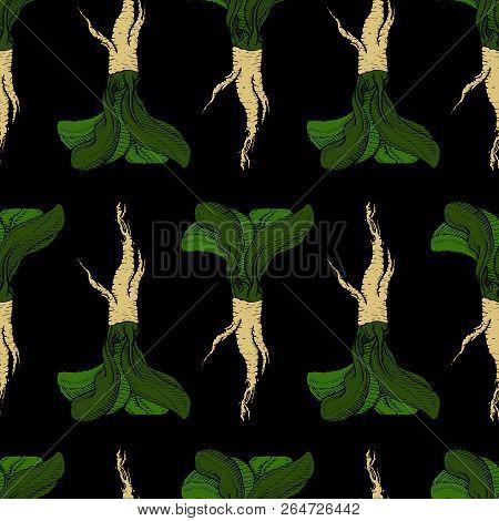 Horseradish Vector Original Coloured Pathless Black Pattern For Web, Textile, Branding, T-shirts, Ca