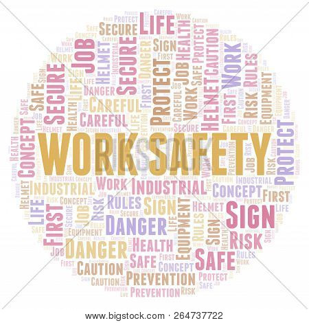 Work Safety Word Cloud. Word Cloud Made With Text Only.