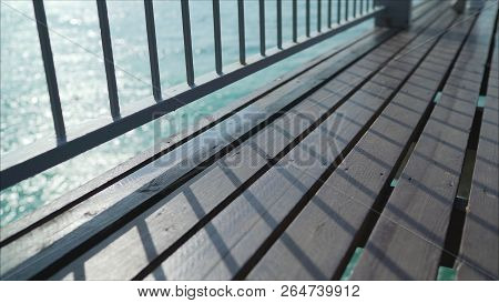 Wooden Planks That Make Up A Large Pier. Pier, Pier, The Floor Of The Boards.