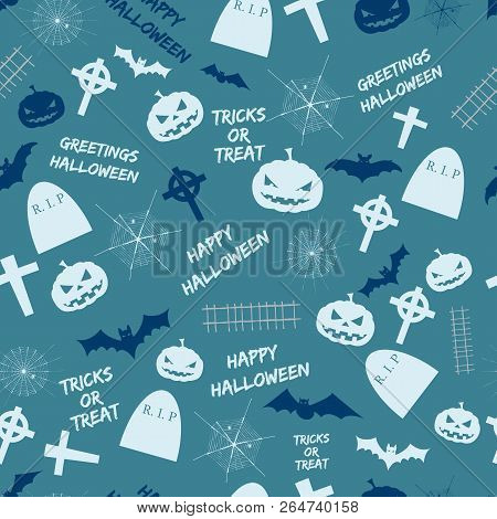 Happy Halloween Seamless Pattern Design With Pumpkins Cemetery Crosses Flying Bats On Blue Backgroun
