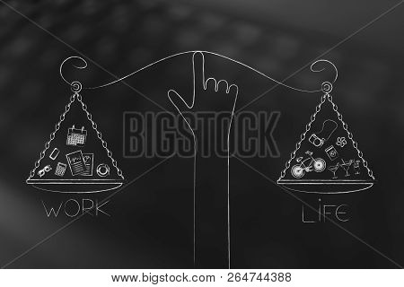 work-life balance conceptual illustration: hand holding unbalanced scale plates with equal amounts of life and work with icons poster