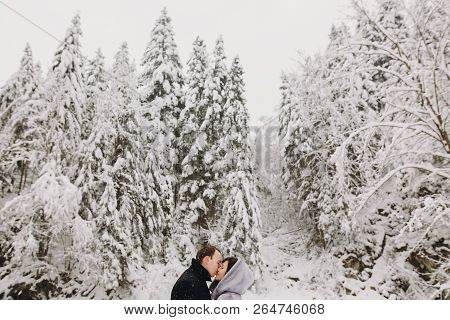 Stylish Couple Embracing In Winter Snowy Mountains. Happy Romantic Man And Woman In Luxury Clothes G