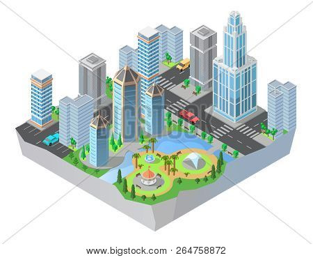 3d Isometric City, Downtown With Modern Residential Buildings, Skyscrapers, Roads, Park. Cityscape,