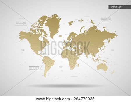 Stylized Vector World Map.  Infographic 3d Gold Map Illustration With Cities, Borders, Capital, Admi