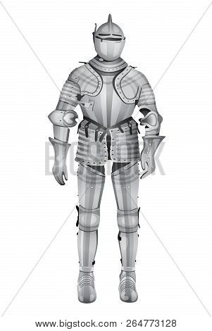 Knight In Metal Armor And Helmet On A White Background