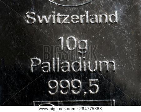The Surface Of A Palladium Ingot. Minted Bar Of Palladium Weighing 10 Grams. Retro.