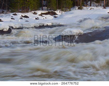 Storforsen Rapid River In The North Of Sweden