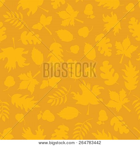 Subtle Autumn Background. Fall Leaves Seamless Vector Pattern. Yellow Leaf Silhouettes On Orange. Mu