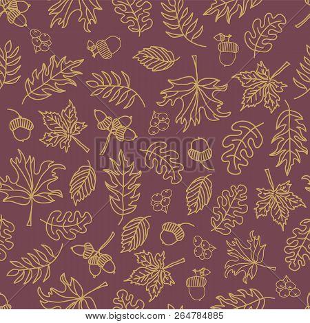 Fall Leaves Seamless Vector Background. Beige Green Leaves On Purple Background. Acorn, Oak Tree, Ma