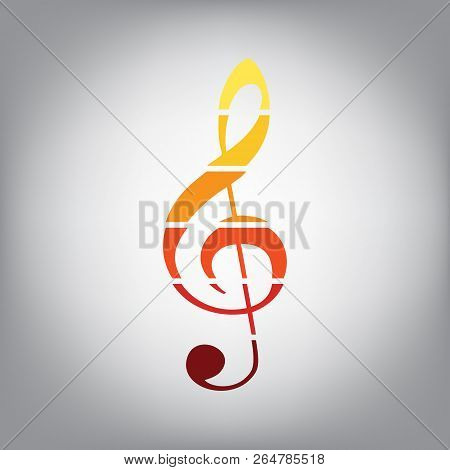 Music Violin Clef Sign. G-clef. Treble Clef. Vector. Horizontall