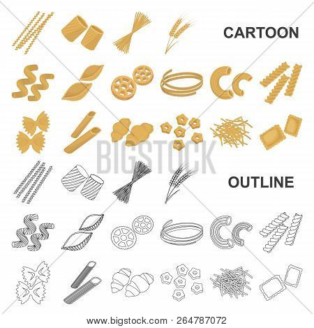 Types Of Pasta Cartoon Icons In Set Collection For Design. Figured Macaroni For Eating Vector Symbol