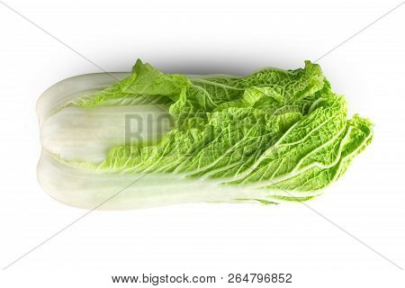 Peking cabbage on a white background. Fresh Peking cabbage close up isolated on white background. poster