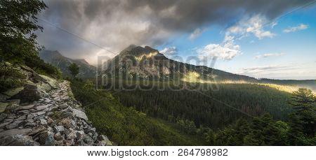 Mountain Landscape With Hiking Trail. Mengusovska Valley, High Tatras Mountains, Slovakia
