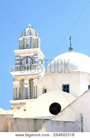 Greek Church With A Bell Tower. Greek Architecture Of Churches
