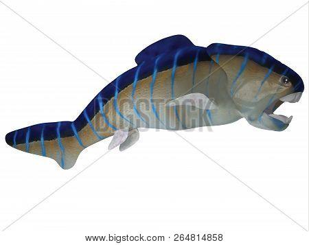 Devonian Dunkleosteus Fish Side Profile 3d Illustration - Dunkleosteus Was A Carnivorous Predatory F