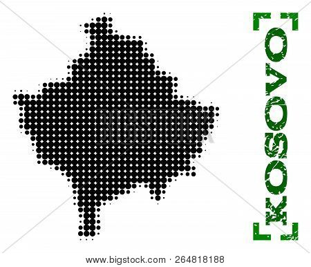 Halftone map of Kosovo and rubber caption. Vector green title with corners and distress rubber texture. Halftone map of Kosovo designed with black pattern of circles. poster