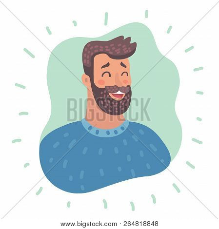 Vector Cartoon Illustration Of Emotion Avatar Man Happy Successful Face Close Up View. Emotional Of
