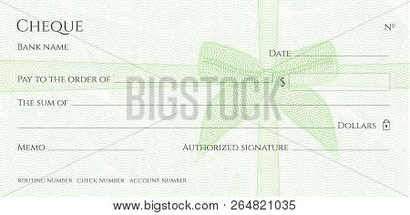 Check, Cheque (Chequebook template). Guilloche pattern with green bow watermark. Background hi detailed for banknote, money design, currency, bank note, Voucher, Gift certificate, Money coupon poster