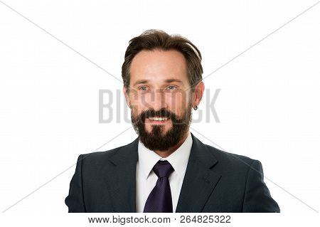 Businessman Formal Suit Mature Man Isolated White. Businessman Bearded Handsome Entrepreneur. Succes