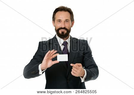 Feel Free To Contact Me. Let Me Introduce Myself. Businessman Hold Plastic Blank Contact Card. Busin