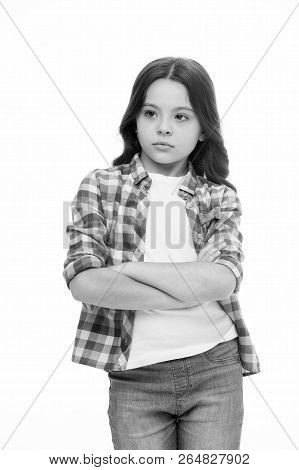 Offended Feelings. Child Offended Keep Silence. Girl Serious Face Offended White Background. Kid Unh