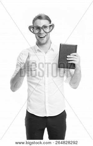 I Love Reading Books. Man Cute Nerd In Heart Shaped Glasses Loves To Read Books. Guy Holds Book And