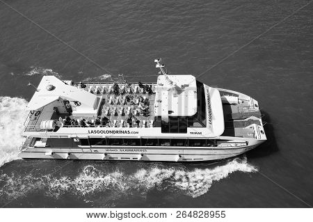 Barcelona, Spain - March 30, 2016: Pleasure Boat Visio Submarina Trimar With People On Deck In Sea.