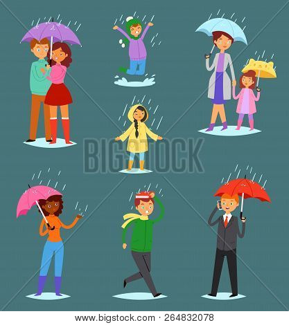 People In Rain Vector Man Woman Characters In Raincoat Holding Umbrella Walking With Kids In Rainy A