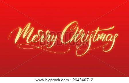 Merry Christmas. Shiny Gold Glowing Calligraphy Merry Christmas.