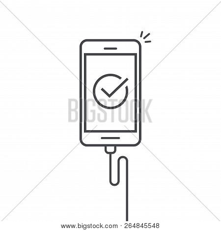 Mobile Phone Connected Wire Charger Vector Illustration, Line Outline Art Smartphone With Checkmark