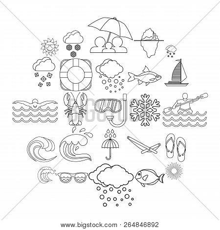 Nautical Icons Set. Outline Set Of 25 Nautical Vector Icons For Web Isolated On White Background
