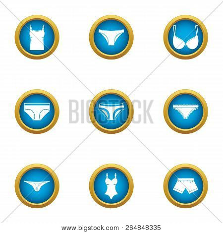 Undies Icons Set. Flat Set Of 9 Undies Vector Icons For Web Isolated On White Background