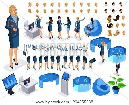 Isometric Set Business Lady With Gadgets, Create Your Character, A Set Of Emotions, Gestures Of Hand